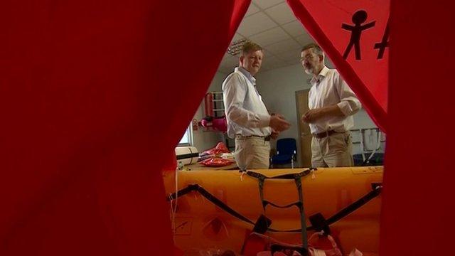 Inside a life raft