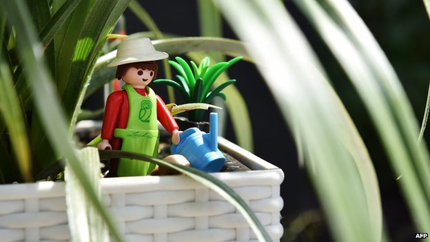 Playmobil figure at Chelsea Flower Show
