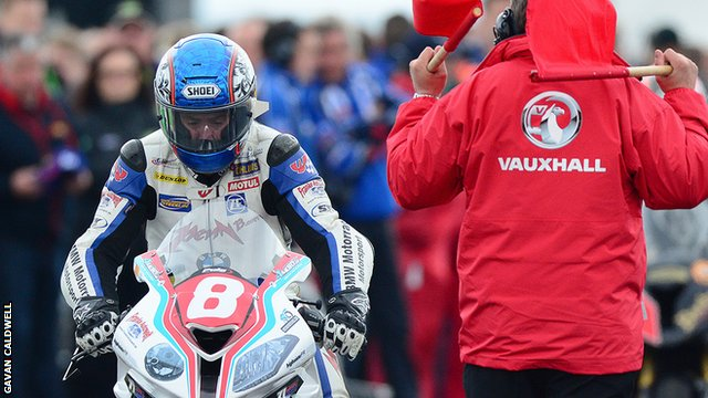 Simon Andrews before the start of the Superstock race where he sustained his injuries