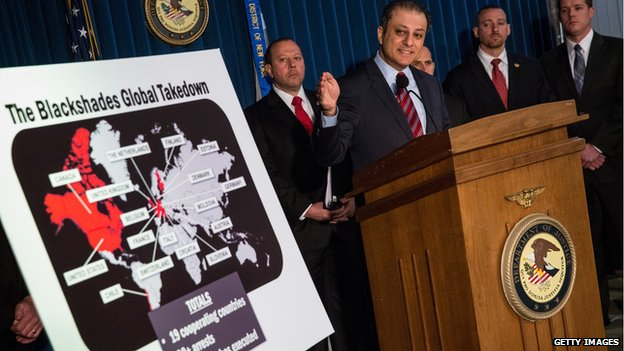 Preet Bharara, US Attorney for the Southern District of New York announces action targeting the creators of the BlackShades software on 19 May 2014