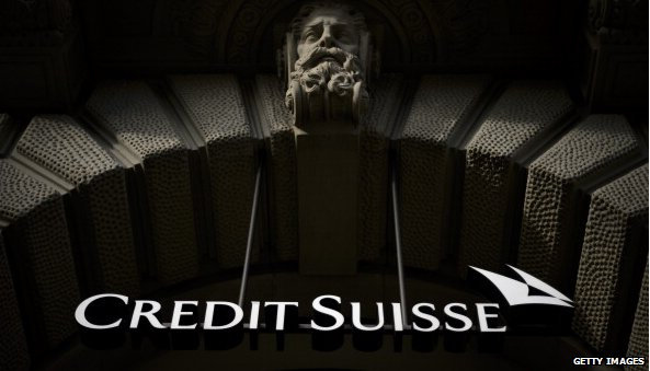 Credit Suisse logo and stone man