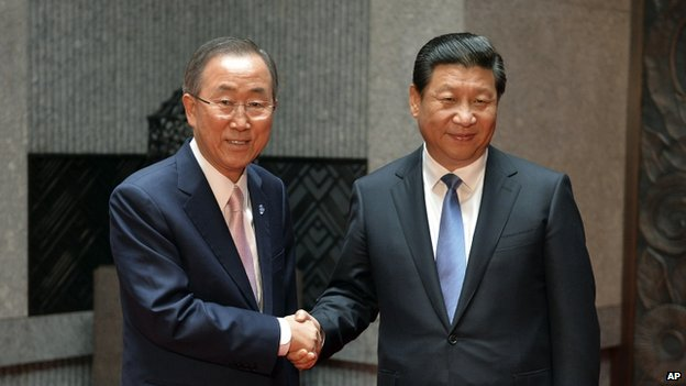 United Nations Secretary General Ban Ki-moon, left, talks with the Chinese President Xi Jinping during their meeting at the Xijiao State Guesthouse on the eve of the fourth Conference on Interaction and Confidence Building Measures in Asia (CICA) summit in Shanghai, China, on 19 May.