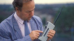 A mobile phone from the early 1980s