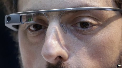 Sergey Brin wears Google Glass
