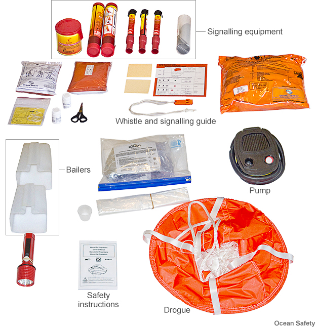 A typical sailing survival pack