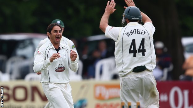 Saeed Ajmal takes a wicket for Worcestershire