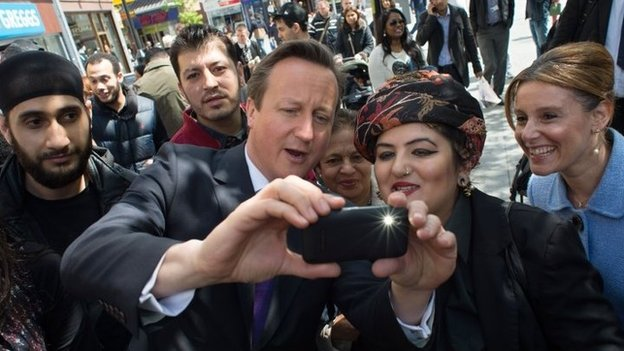 David Cameron takes a selfie in Harrow