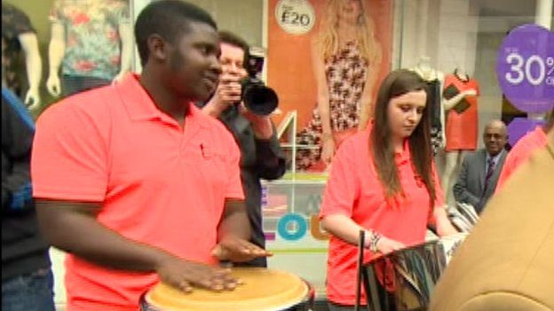 Steel band playing