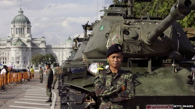 A tank in central Bangkok during the coup of September 2006