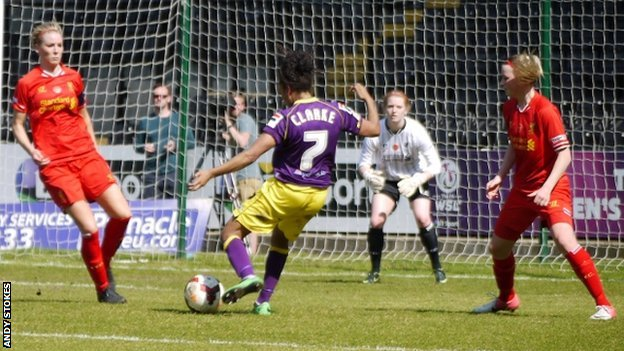 Notts County's Jess Clarke shoots for a goal during the 0-0 draw with Liverpool