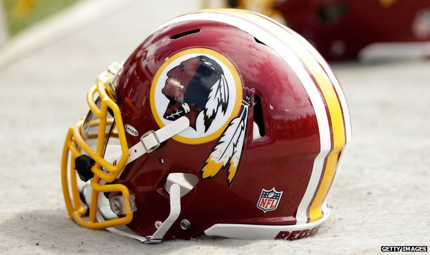 A Washington Redskins helmet