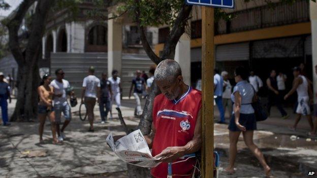 Man reads the Granma newspaper in Havana