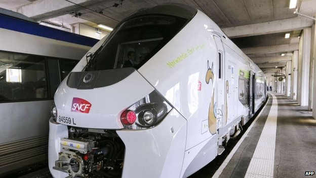 The new SNCF Regiolis Regional Express Train (TER) during its presentation at the Vaugirard railway station in Paris (April 2014)