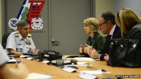 The US Coastguard meets with the British Consulate to discuss the search