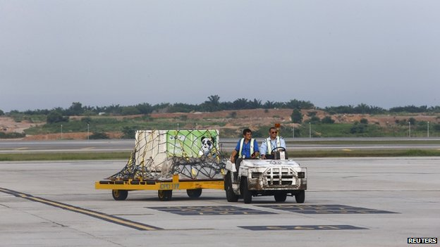 A cage holding a giant panda from China arrives at the MASkargo Complex in Sepang, outside Kuala Lumpur, 21 May