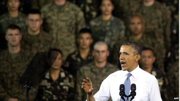 United States President Barack Obama delivers remarks to US and Philippine troops at Fort Bonifacio in Manila on 29 April