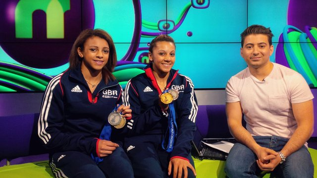 Becky and Ellie Downie with Ricky Boleto