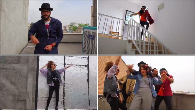A montage of images from the Tehran Happy video