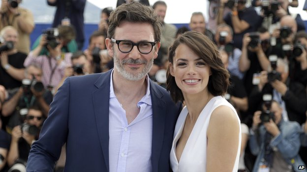 Director Michel Hazanavicius, left, and actress Berenice Bejo in Cannes
