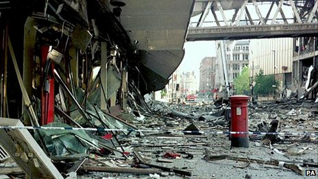 Aftermath of IRA bomb, Manchester, 1996