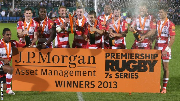 2013 Premiership Rugby Sevens champions Gloucester celebrate