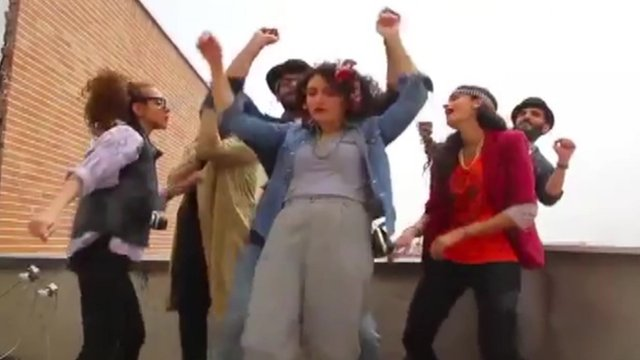 A clip from the video of the young Iranians dancing to the song