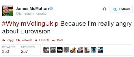 "A tweet from @jamesmcMahon which reads: ""#WhyImVotingUkip Beacuse I'm really angry about Eurovision"""