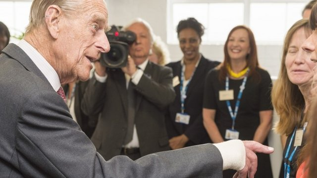 Prince Philip with bandaged hand
