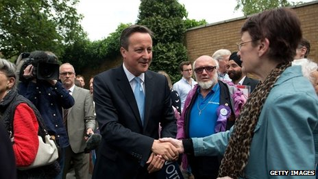 David Cameron meets Conservative supporters in west London