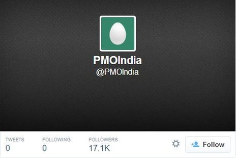 A screengrab of the @PMOIndia Twitter handle with no tweets