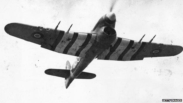 A Hawker Typhoon fighter plane in flight, 1943