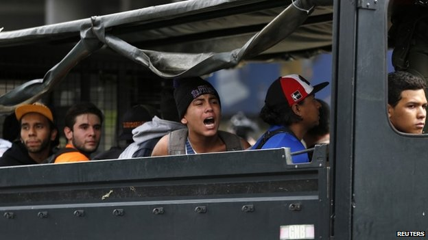 Detained protesters in Caracas, 14 May