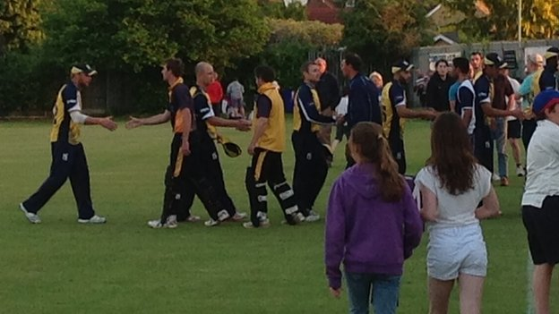 Jonathan Trott congratulates Shropshire's players after the match