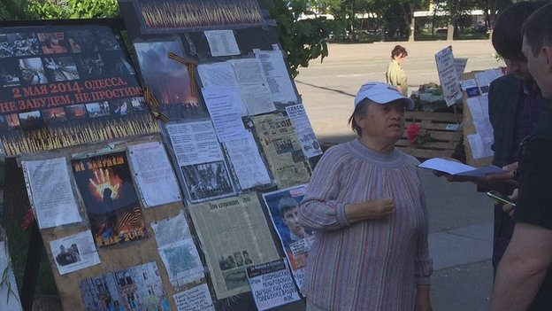Rosalia outside burned Trade Unions house in Odessa