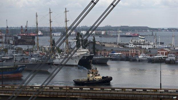 Tug sails in Odessa port