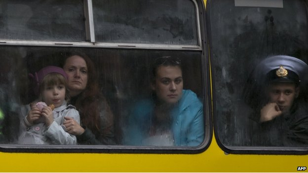 People on a bus in Odessa