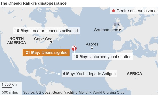 Map showing the search for the missing yacht