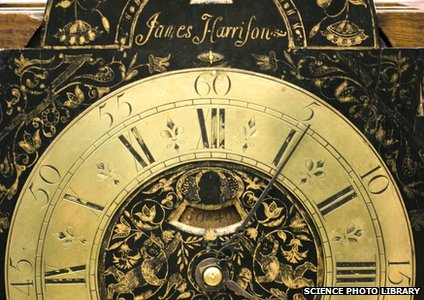A golden clock made by John Harrison