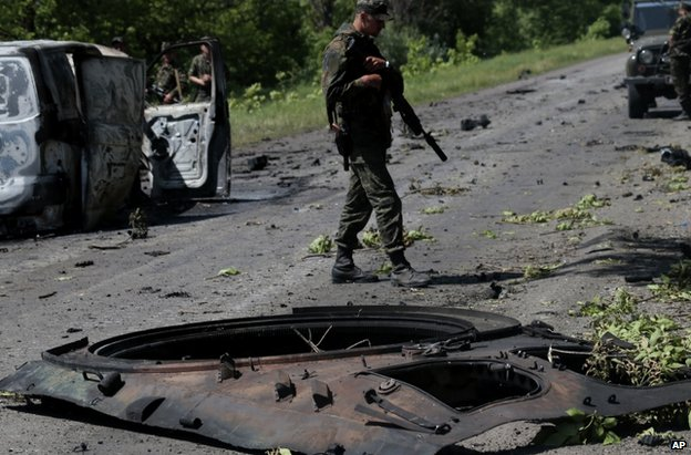 Attack aftermath near Volnovakha, Ukraine, 22 May