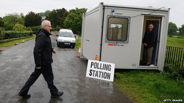 A mobile polling station in in Newton Kyme, England