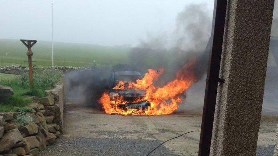 Car fire in Orkney