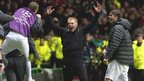Neil Lennon celebrates Tony Watt's goal against Barcelona on 2012