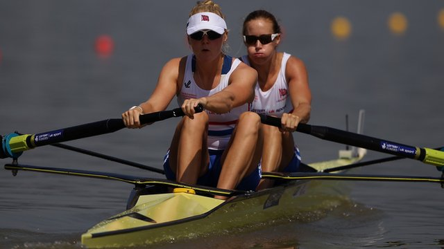 Britain's Helen Glover and Polly Swann in the women's pair at the 2013 World Rowing Championship