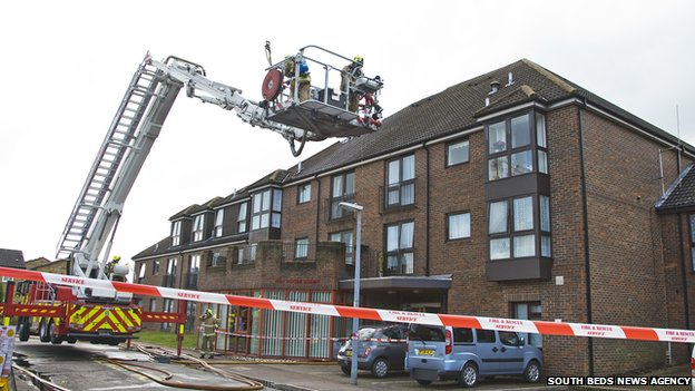 Fire crews at Red House Court in Houghton Regis