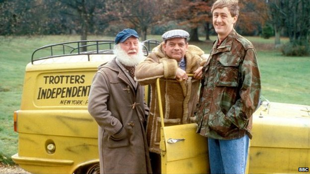 Buster Merryfield as Uncle Albert, David Jason as Del Boy Trotter and Nicholas Lyndhurst as Rodney Trotter, in series five of the comedy sitcom Only Fools and Horses, set in Peckham, London.