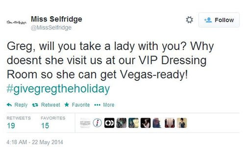"Tweet that reads ""Greg, will you take a lady with you"" from Miss Selfridge"