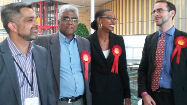 Shafique Choudhary, Sarah-Louise Marquis and Michael Pavey celebrate a Labour win in Brent.