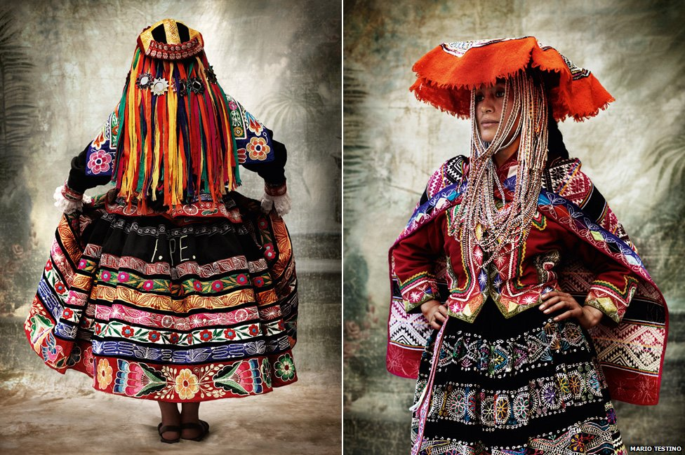 Traditional women's dresses. (L) Province of Espinar, Cusco, 2007. (R) Rural community of Chahuaytire, District of Pisac, province of Calca, Cusco, 2012