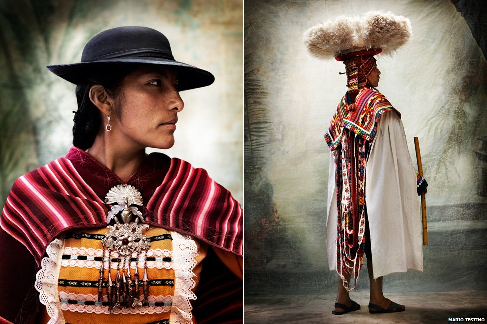 (L) Mestiza women's traditional dress. Province of Paruro, Cusco, 2012. (R) Male costume for the Carnaval de Ccatcca. Province of Quispicanchi, Cusco, 2010