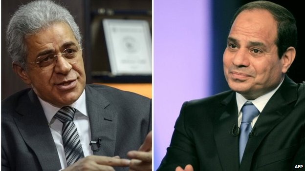Hamdeen Sabahi (left) and Abdul Fattah al-Sisi